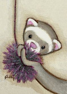 Ferret Art ACEO print Got It Shelly Mundel by ShellyMundelArt