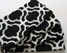Large Cloth Napkins  Set of 4  Black Tile by ClearSkyHome on Etsy, $18.00