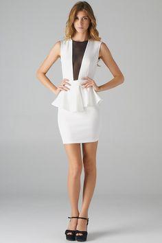 HOTT    (http://www.lavishville.com/mesh-inset-and-open-back-peplum-dress-off-white/)