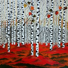 Buy The Red Rules, Acrylic painting by ZanArt on Artfinder. Simple Acrylic Paintings, Acrylic Painting Canvas, Original Paintings, Original Art, Birches, Stretched Canvas, Artworks, Vibrant, Craft Ideas