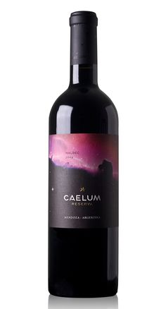 Fantastic nebula-print wine labels designed by Dizen of Argentina (reminiscent of Christopher Kane's nebula prints taken from the Hubble telescope).