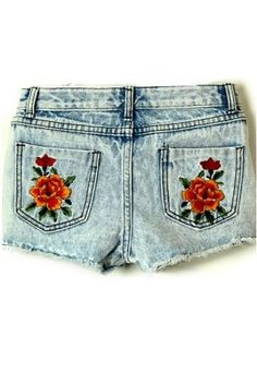Blue Vintage Embroidery Drawstring Waist Denim Shorts