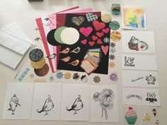 Greeting Card Kit 1, hearts, birds, flowers, tags, paper, envelopes, circles, ++ Online Garage Sale, Card Making Supplies, Paper Envelopes, Card Kit, Circles, Bee, Greeting Cards, Hearts, Birds