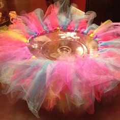 Tutu cake stand Get dollar store plate and candle holder. Glue together then glue on tulle.