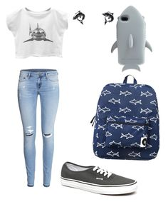 """Shark style"" by dinawinchester ❤ liked on Polyvore featuring Forever 21, STELLA McCARTNEY, H&M, Vans and Sourpuss"