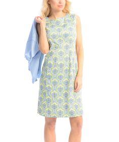 Look at this #zulilyfind! Maglia Blue & Yellow Damask Sleeveless Dress & Cardigan by Maglia #zulilyfinds