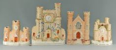4 Staffordshire Pottery Castle Pastille Burners : Lot 151. This lot was sold for $150 at our January 26, 2013 auction.