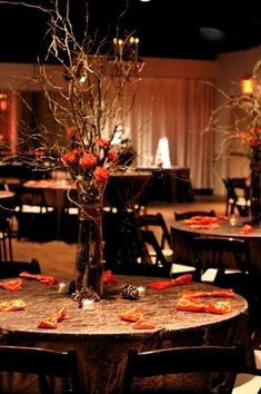 Gold crush linens and dark wood chairs - Indoor fall wedding reception idea! Weddings Wedding Reception Photos on WeddingWire A sample of our Wedding Table Set-up. This one is from Noah Liff Opera Center where TFM is a preferred caterer! Fall Wedding Colors, Wedding Flowers, Yellow Wedding, Indoor Fall Wedding, Grand Vase En Verre, Fall Wedding Centerpieces, Autumn Wedding Decorations, Twig Centerpieces, Orange Centerpieces