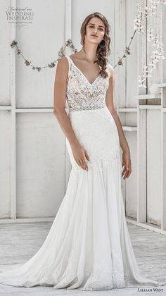 a2a05ba214 lillian west spring 2019 bridal sleeveless with strap v neck heavily  embellished bodice elegant trumpet wedding