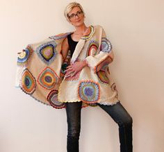 Picture Only--Plus Size Women's Cardigan Sweater Beige with Crochet Circles