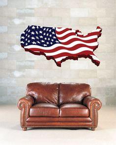 cik1277 Full Color Wall decal Card USA Flag living room bedroom office