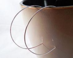 Large Silver Hoop Earrings, Lightweight, Comfortable, Gift For Her, 2 inch Hoops, Silver Hoop Earrin