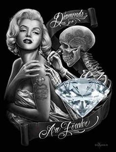 [ Dga Marilyn Monroe Chicano Stretched Canvas Wall Art ] - Best Free Home Design Idea & Inspiration Marilyn Monroe Diamonds, Marilyn Monroe Wallpaper, Marilyn Monroe Tattoo, Marylin Monroe, Aztecas Art, David Gonzalez, Lowrider Art, Tatoo Art, Card Tattoo