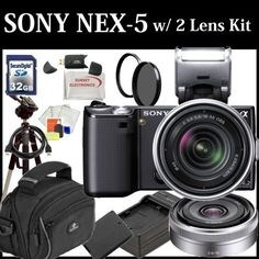 Sony Alpha Nex-5 Interchangeable Lens Digital Camera (Black) Dual Lens Kit with Sony E-series 18-55mm F/3.5-5.6 OSS Lens W/shade & Sony E-Mount SEL16F28 16mm f/2.8 Wide-Angle Alpha E-Mount Lens + 32GB SDHC Memory Card, Extra FW50 Battery Pack, Travel Charger, UV Filter, Rotating Circular Polarizer Filter, Fluid Head Tripod and much much more... by Digital. $945.99. This Kit Includes: 1- Sony Alpha NEX-5 Interchangeable Lens Digital Camera (Includes manufacturer's supplied acc...
