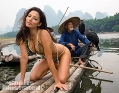 Jessica Gomes was photographed by Derek Kettela in Guilin, Guangxi Province, China. Swimsuit by Kate Swim.