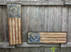 Primitive Aged 1777 American Flag Wood Sign by MillRiverPrimitives, $34.00-- maybe make this into a wall clock