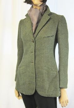 Teal Tweed Single Breasted Riding Jacket -- Not that I ride, but. Tweed Ride, Tweed Jackets, Riding Jacket, Gowns Of Elegance, Equestrian Style, Single Breasted, Biking, Day Dresses, Silhouettes