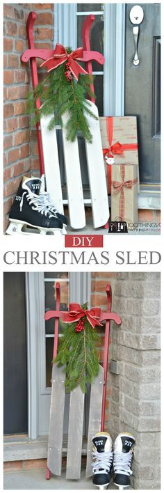 Christmas sled plans - My Wood Crafting Christmas Sled, Christmas Yard Art, Christmas Wood Crafts, Outdoor Christmas, Rustic Christmas, Diy Christmas Gifts, Christmas Projects, Holiday Crafts, Christmas Ornaments