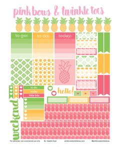 FREE Pineapple Party Planner Stickers by Pinkbow & Twinkle toes. Pink, yellow and lime green