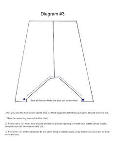 Okay I got several emails asking me how to make the harem pants so here are three diagrams with instructions etc.Diagram #1 tells you how to draft the pattern according to your measurmentsDiagram #…