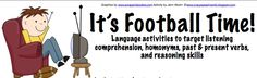 Are you ready for some football?!-football themed language activities to target listening comprehension, homonyms, past and present verbs, and reasoning skills. From Crazy Speech World. Pinned by SOS Inc. Resources @sostherapy.