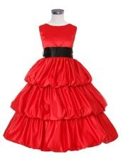 Red 3 Layered Satin Bubble Flower Girl Dress
