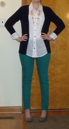 The Lazy Girl Blog: fall office outfit - navy cardigan, white blouse, green skinnies