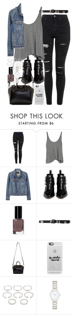 """Outfit with a denim jacket and ripped jeans"" by ferned ❤ liked on Polyvore featuring Topshop, T By Alexander Wang, Proenza Schouler, Tabitha Simmons, Bobbi Brown Cosmetics, Givenchy, Casetify, Forever 21 and Forever New"