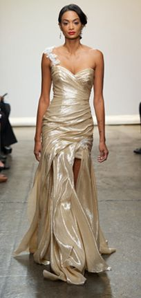 Isn't Ines Di Santo's gold wedding gown fit for a goddess? We'd love to slip into this shimmery number.