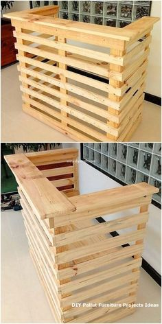 Use Pallet Wood Projects to Create Unique Home Decor Items – Hobby Is My Life New Pallet Ideas, Diy Pallet Projects, Woodworking Projects, Diy Pallet Bar, Pallet Counter, Pallet Ideas For Outside, Pallet Display, Small Pallet, Pallet Boxes