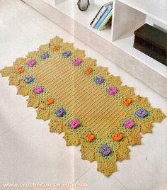 tapete em croche com 20 flores em croche com receita
