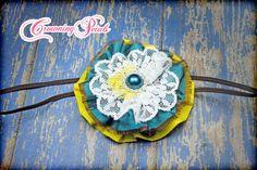 Flower Hair Clip, Yellow, Teal Headband, Hair Accessory, Fabric Flower Brooch, Baby Girl Hair Bow, Fabric Flowers, Infant Hair Bows