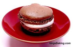 Fudgy Chocolate Macaron with Sake Wine Filling   from NinjaBaking.com  #chocolate #sake #wine
