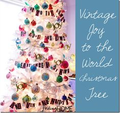 Vintage White Joy to the World Christmas Tree by Finding Home