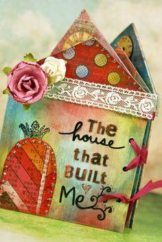house shape mini album, card. paper: Hazel & Ruby, coloring: Faber Castell Gelatos. created by Emi