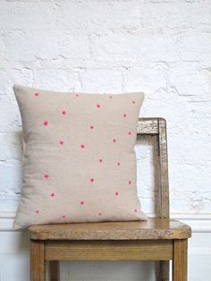 Hand Printed Star Cushion in Neon Pink by hellomilky