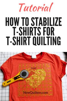 How to Stabilize T-Shirts for T-Shirt Quilting Learn how to stabilize stretchy t-shirt fabric to make a t-shirt quilt. Tutorial from NewQuilters. Quilting For Beginners, Sewing Projects For Beginners, Quilting Tips, Quilting Tutorials, Quilting Projects, Beginner Quilting, Quilting Designs, T-shirt Quilts, Rag Quilt