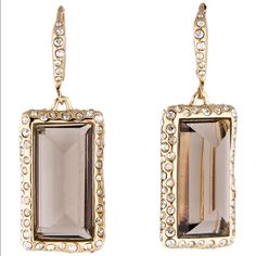 """NWT - $225 Alexis Bittar Pave Smokey Quartz Drop Smokey brown Quartz (light chocolate color) surrounded by pave crystals and on looped posts. 14k plates. 1.5"""" drop and .75"""" width in a rectangular shape. Absolutely stunning! Alexis Bittar Jewelry Earrings"""