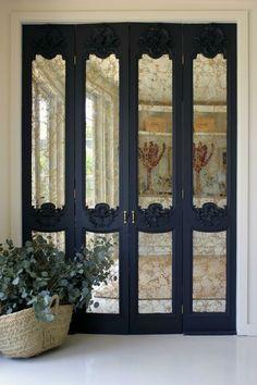 Ideas Mirror Closet Door Makeover Ikea Pax Wardrobe For 2019 Mirror Closet Doors, Mirror Door, Room Doors, Accordion Doors Closet, Mirrored Bifold Closet Doors, Mirrored Walls, Diy Closet Doors, Mirrored Wardrobe, Garderobe Design