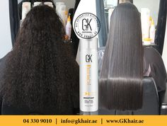 "Frizzy & Curly hair to Straight and manageable hair you just need GKhair ""Resistant"" treatment with Juvexin® protein. #GKhair #Juvexin #UAE www.GKhair.ae"