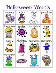 Halloween words for writing