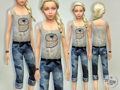 The Sims Resource: Flower Print Denim Jeans by lillka • Sims 4 Downloads