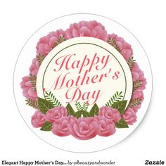 Shop Elegant Happy Mother's Day Floral Frame Sticker created by ofbeautyandwonder. Mothers Day Flower Pot, Mothers Day Cake, Mothers Day Crafts, Happy Birthday Mama, Birthday Wishes, Happy Mothers Day Pictures, Cupcake Toppers Free, Valentine's Day Printables, Fathers