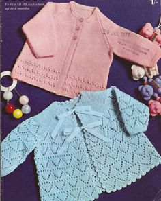 This is for a PDF pattern not the actual garments in the photograph. Patterned matinee/angel coats.    To fit sizes 18-19 (48 and 51cm)  Pattern for knitting in 4ply knitting wool  Needle size UK12 and UK10 US YARN EQUIVALENT  Please check the tension/gauge provided in the listing against yarn label:    2ply/3ply = Super fine sock, baby, fingering  4ply = Fine sports weight yarn  Double Knitting/Quick Knit = Light DK/Light Worsted weight / 8ply  AR...