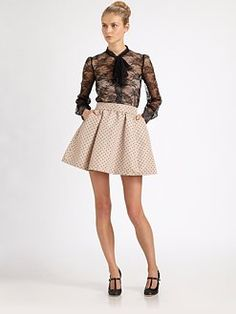 RED Valentino - Chantilly-Lace Bow Blouse