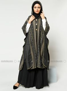 Natural Fabric Hooded Poncho - Beige - Refka