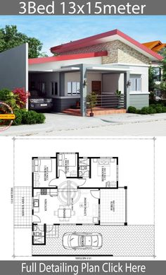 Home design plan with 3 Bedrooms.House description:One Car Parking and gardenGround Level: Living room, 3 Bedrooms, Dining room, Simple Bungalow House Designs, Modern Bungalow House, Simple House Design, Bungalow House Plans, Modern House Design, House Layout Plans, Dream House Plans, Small House Plans, House Layouts