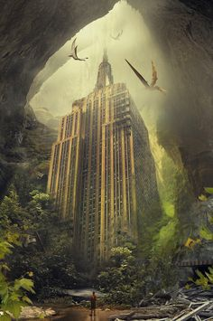 Illustration - Empire State Matte Painting - Post Apocalyptic, Cave, Dinosaurs