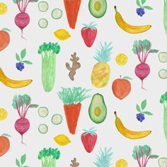 Watercolor fruit & vegetable green juice pattern by Abby Galloway for Louisville KY Lifebar Café