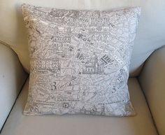 Paris map on cotton duck pillow cover